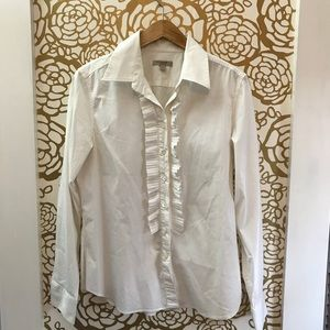 Burberry White Button Down Ruffle Blouse Top